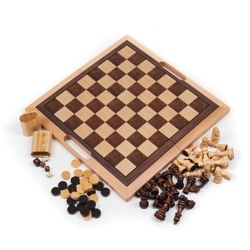 Deluxe Wooden Chess, Checkers and Backgammon Set