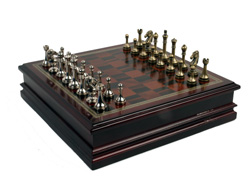 Metal Chess Set Woth Deluxe Wood Board